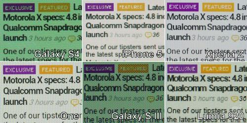 S4/iPhone5/One/L36h/920显示效果比拼