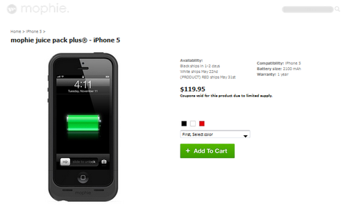 Mophie外壳到来 iPhone5续航成倍提升