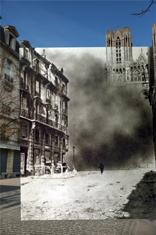 瞬间穿越100年!一战老照片与现实重叠