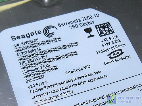 希捷750GB 16MB串口硬盘标签
