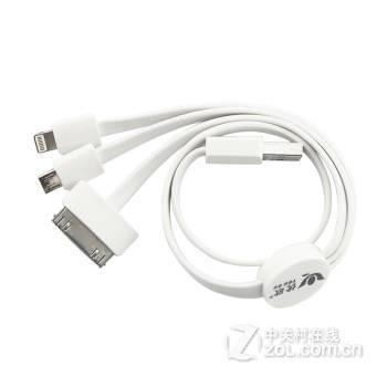 优欧一拖三数据线 面条多头 usb苹果安卓手机移动电源多功能多用三