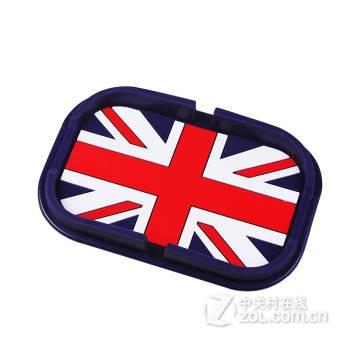 袋盒架桶网内置物贴可爱车用防滑垫箱硅胶手机导航支架 紫框英国国旗