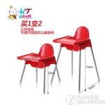 宝贝时代婴儿餐椅高脚餐椅儿童餐椅宜家同款宝宝椅可调节高度 红色含餐盘
