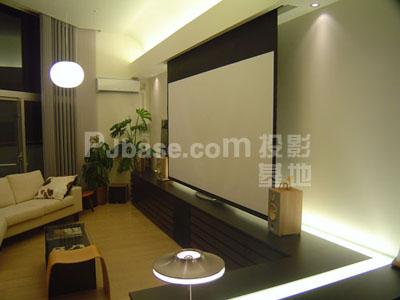 凹隐蔽在客厅的投影幕布匹(图)图片