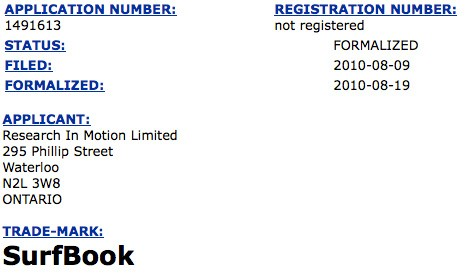 RIM公司申请SurfBook商标 或用于平板