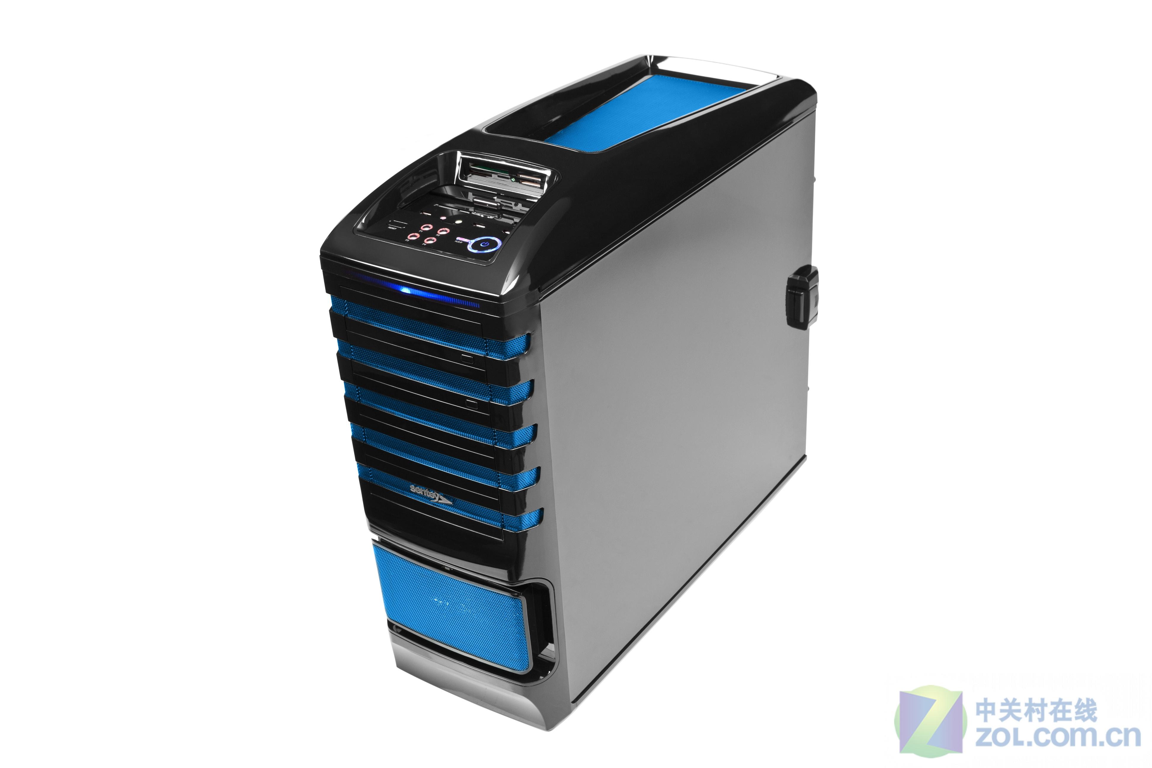 Sentey是一家在欧洲市场经营多年的机电品牌,旗下产品普遍拥有较为绚丽的外观和完善的功能性。此次笔者给大家找来了Sentey品牌下全塔式机箱GS-6500系列的图片,希望大家能够喜欢。该机箱拥有7个PCI槽,散热系统十分完善,可以安装EATX级别的主板,带有4个光驱位和1个软驱位,上部拥有非常完善的外置硬盘、读卡器、调速器等功能,板材厚度也达到了1mm,可以说拥有大量高端产品才具备的元素。由于该品牌产品全部采用代工,所以我们也许在不久的将来就会看到非常类似的产品,就让我们一起期待吧。 作者:商皛 201