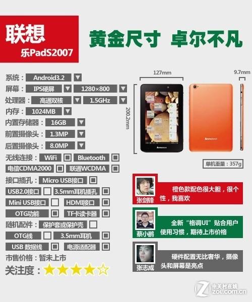 联通电信通吃 联想乐PadS2007行货评测