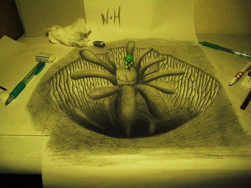 日本艺术家铅笔素描 创作3d立体画面