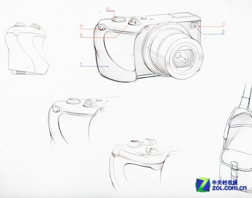 新相机的手绘图,据说这是以索尼rx100为原型而设计的