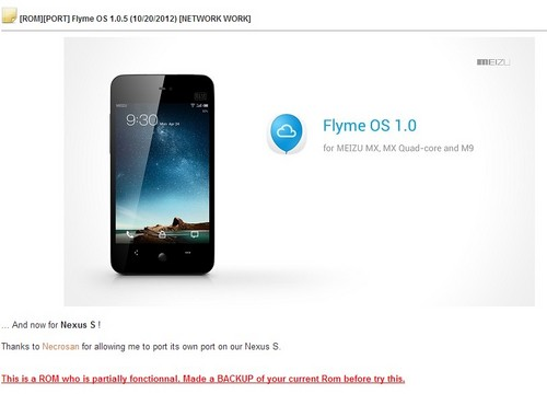 XDA新作 Nexus S成功运行魅族Flyme系统