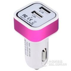 硕图双接口usb车载手机充电器 方头-紫色