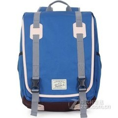 promax时尚英伦韩版双肩包男士潮款背包女学院风旅行休闲学生书包MD1033A-50 蓝色