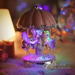 天空之城发光旋转木马八音盒 甜蜜粉色