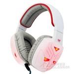 友柏头戴式重低音耳机耳麦单孔发光版 白红