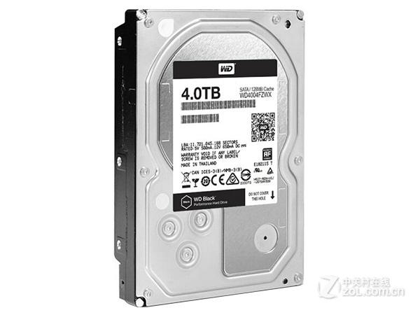 西部数据4TB 7200转 128MB SATA3 黑盘(WD4004FZWX)