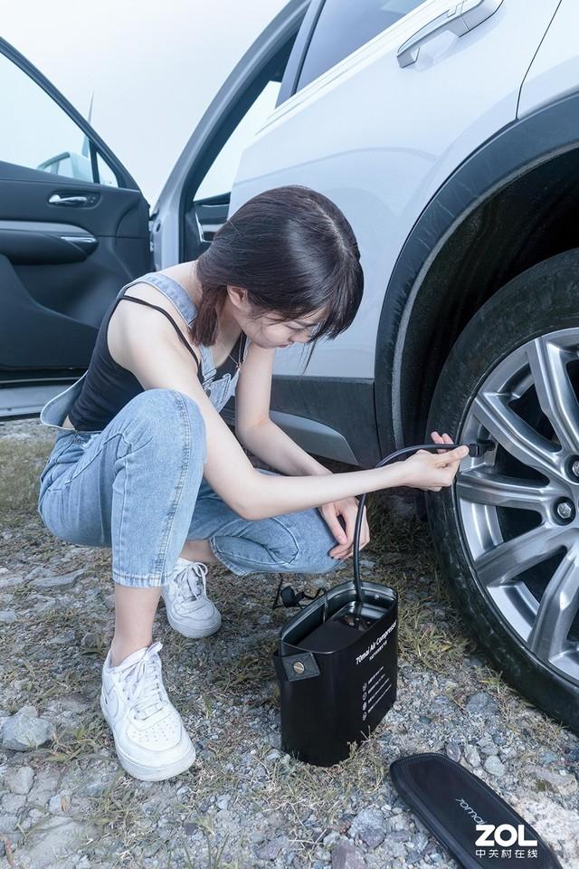 轮胎安全小助手 70迈汽车轮胎充气泵体验